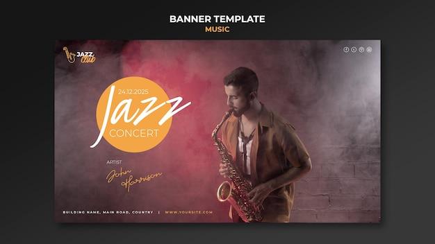 Modèle De Bannière De Concert De Jazz PSD Premium