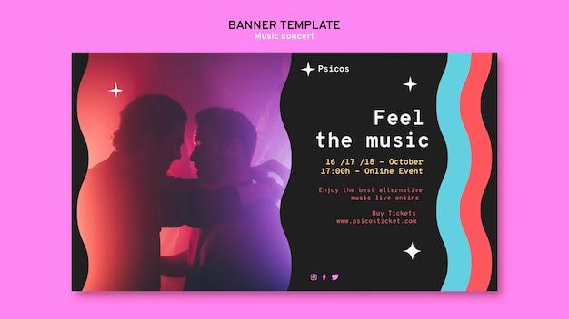 Modèle de bannière de concert de musique moderne