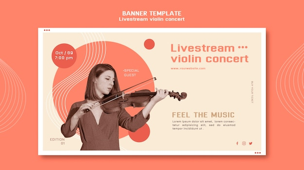 Modèle de bannière de concert de violon livestream