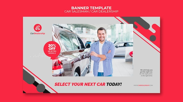 Modèle de bannière de concessionnaire automobile avec photo
