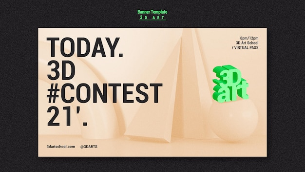 Modèle de bannière de concours d'art 3d