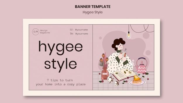 Modèle de bannière de conseils de style hygge