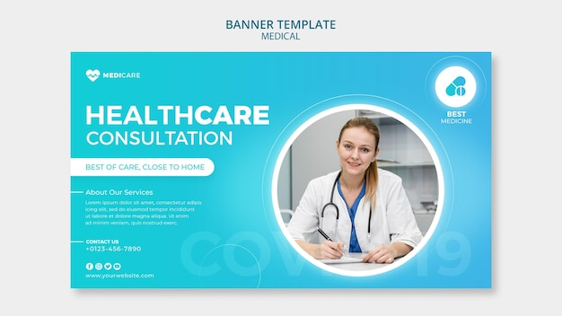 Modèle de bannière de consultation de soins de santé