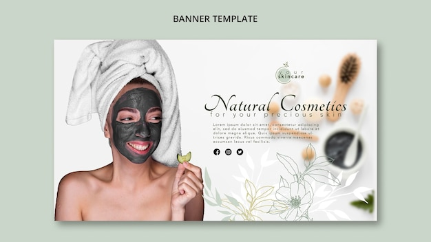 Modèle de bannière de cosmétiques naturels