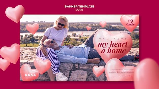 Modèle de bannière de couple de personnes âgées amoureux