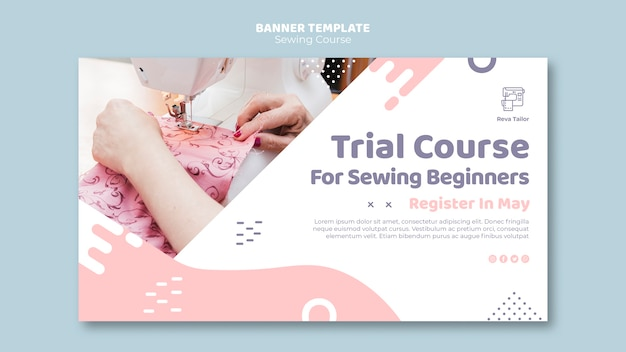 Modèle de bannière de cours de couture pour débutants
