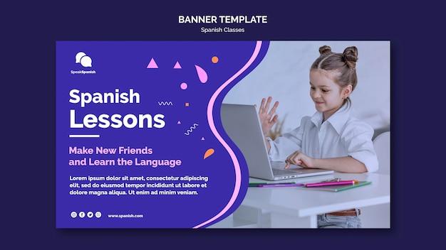 Modèle de bannière de cours d'espagnol