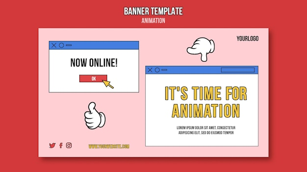 Modèle de bannière de cours en ligne d'animation