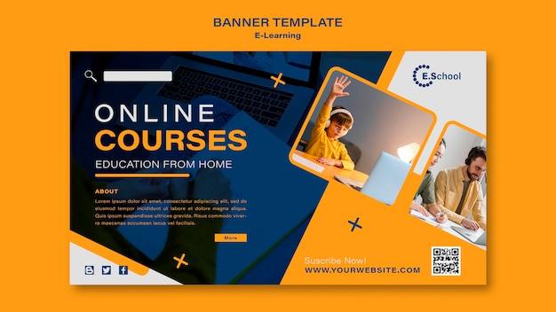 Modèle de bannière de cours en ligne