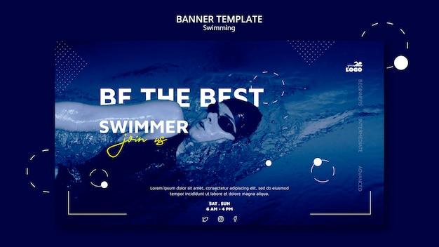 Modèle de bannière de cours de natation avec photo