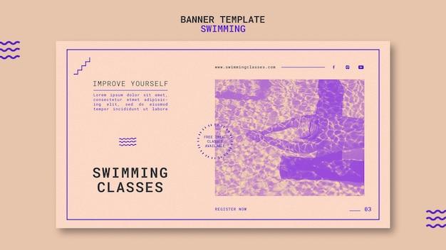 Modèle de bannière de cours de natation