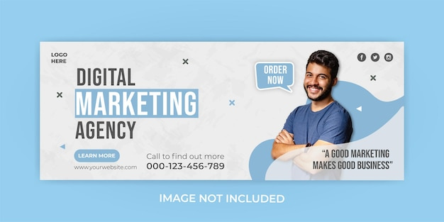 Modèle de bannière de couverture facebook d'agence de marketing d'entreprise