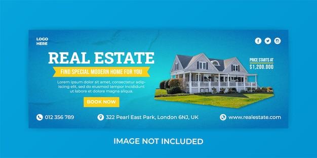 Modèle de bannière de couverture facebook agence de vente immobilière