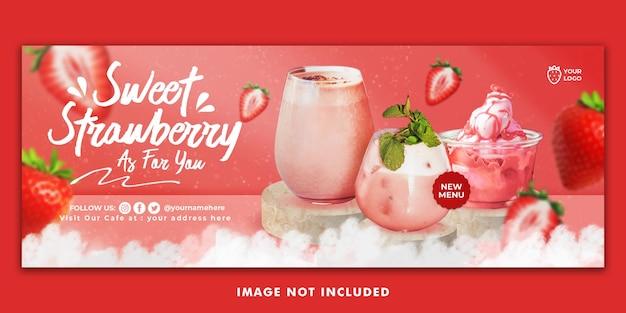 Modèle de bannière de couverture facebook aux fraises pour la promotion du restaurant