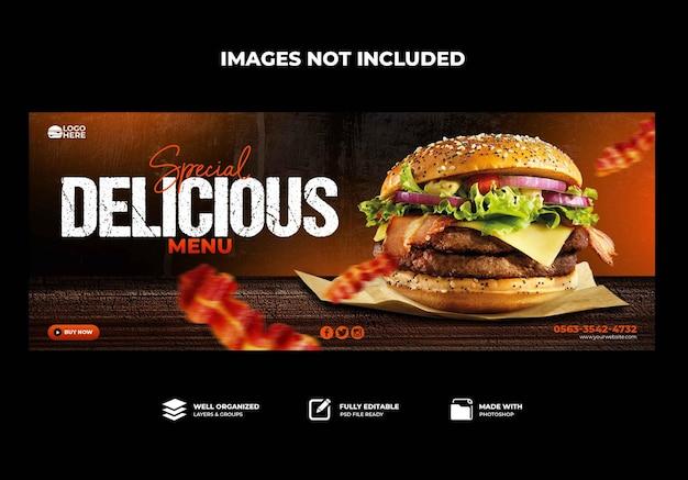 Modèle de bannière de couverture facebook delicious burger