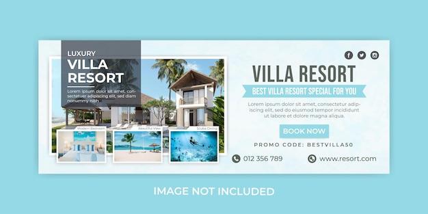 Modèle de bannière de couverture facebook hôtel villa resort
