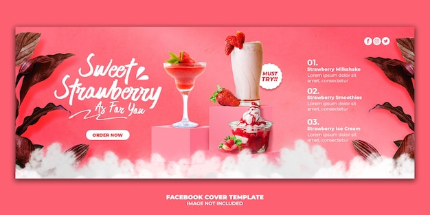 Modèle de bannière de couverture de facebook de menu de boisson aux fraises pour la promotion de restaurant