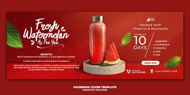 Modèle de bannière de couverture de facebook de menu de boisson de jus pour la promotion de restaurant