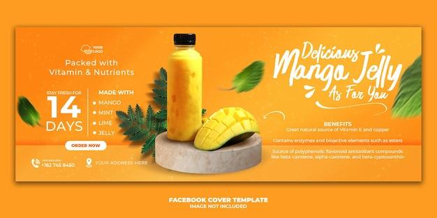 Modèle de bannière de couverture de facebook de menu de boisson de mangue pour la promotion de restaurant