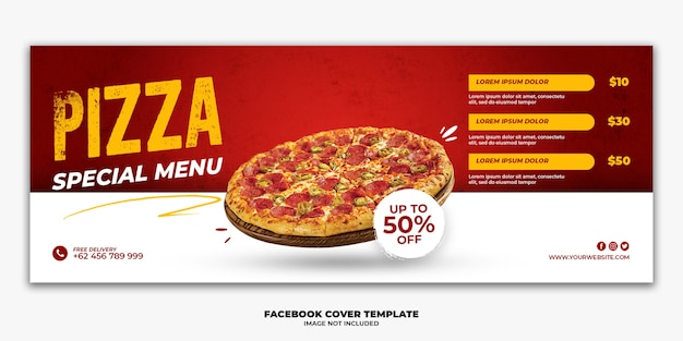 Modèle de bannière de couverture facebook menu spécial fast food pizza