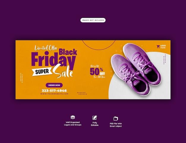 Modèle de bannière de couverture facebook noir vendredi super vente