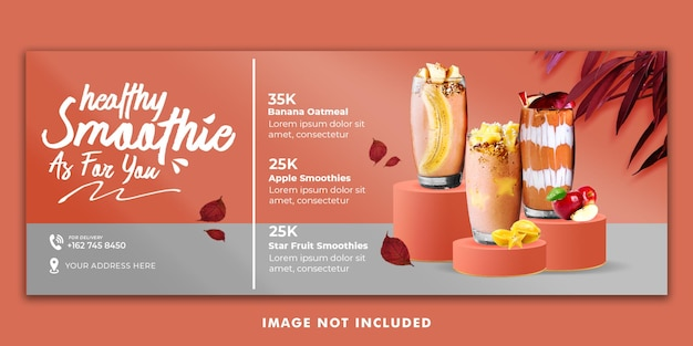 Modèle de bannière de couverture facebook pour le menu de boissons