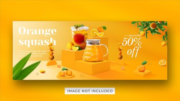 Modèle de bannière de couverture facebook de promotion de menu de boisson de courge orange