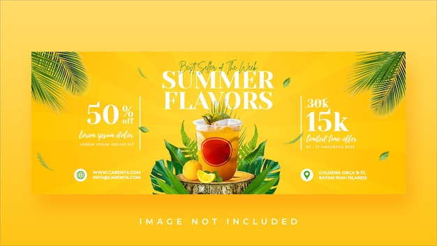 Modèle de bannière de couverture facebook de promotion de menu de boissons d'été