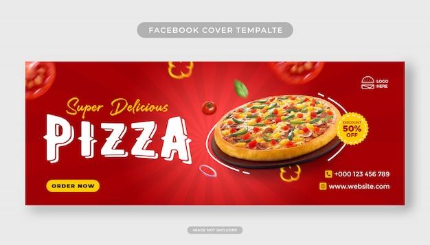Modèle de bannière de couverture facebook promotion de menu de nourriture pizza