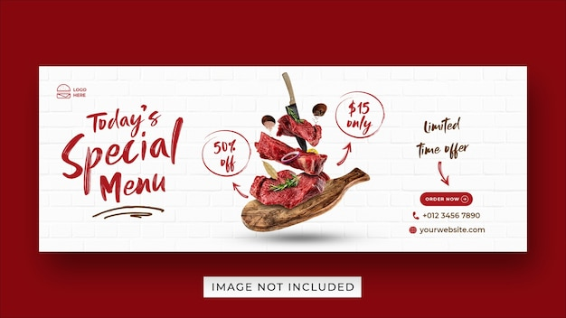 Modèle de bannière de couverture facebook de promotion de menu de steak food