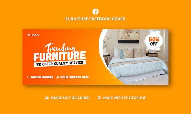 Modèle de bannière de couverture facebook de vente de meubles
