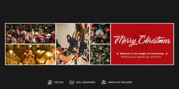 Modèle de bannière ou de couverture de noël et du nouvel an