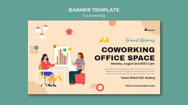 Modèle de bannière de coworking créatif
