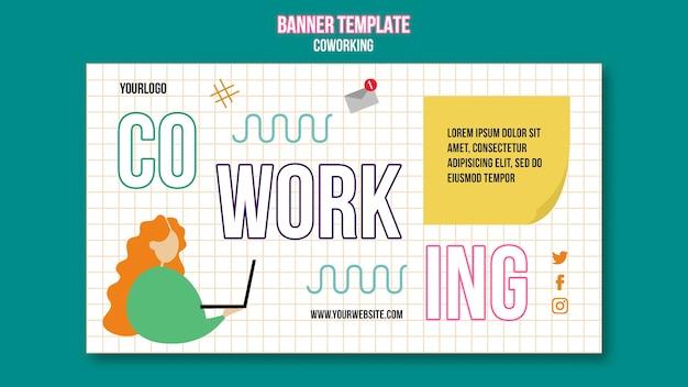 Modèle de bannière de coworking