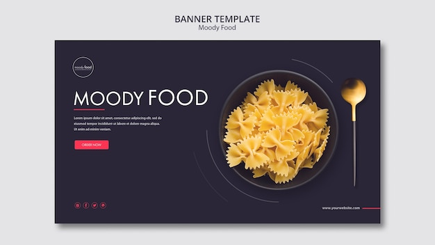 Modèle de bannière créative de nourriture moody