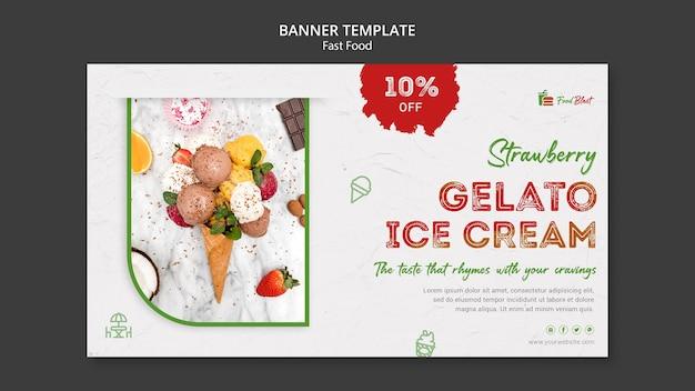 Modèle de bannière de crème glacée gelato