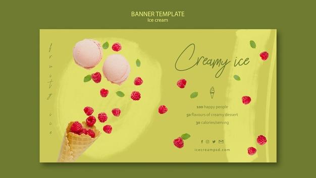 Modèle de bannière de crème glacée avec photo