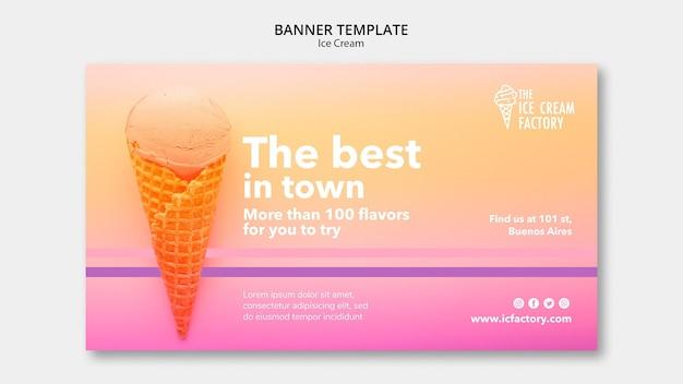 Modèle de bannière de crème glacée