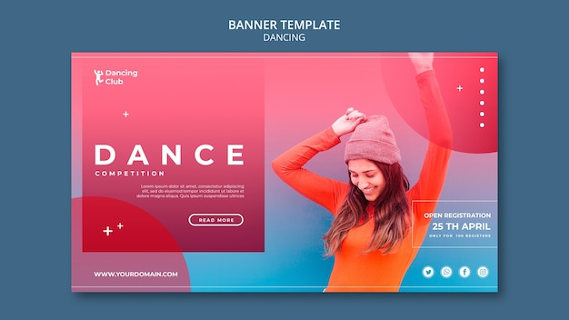 Modèle de bannière de danse colorée