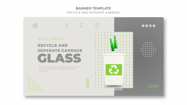 Modèle de bannière de déchets séparés