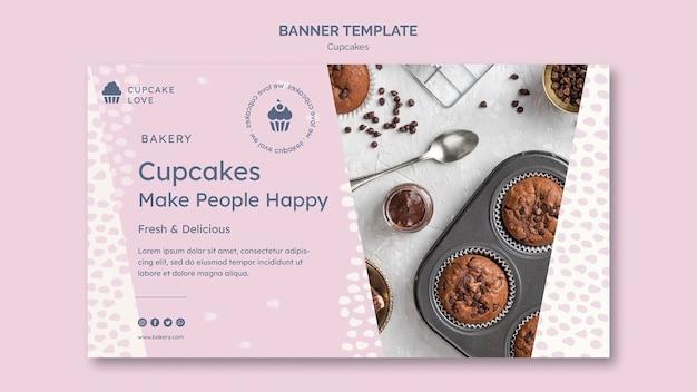 Modèle de bannière délicieux cupcakes avec photo