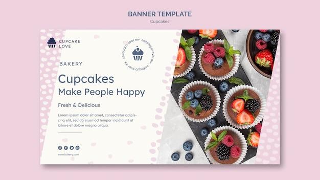 Modèle de bannière délicieux cupcakes