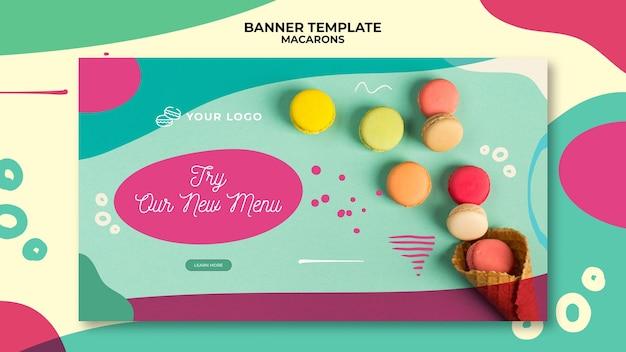 Modèle de bannière de délicieux macarons sucrés colorés