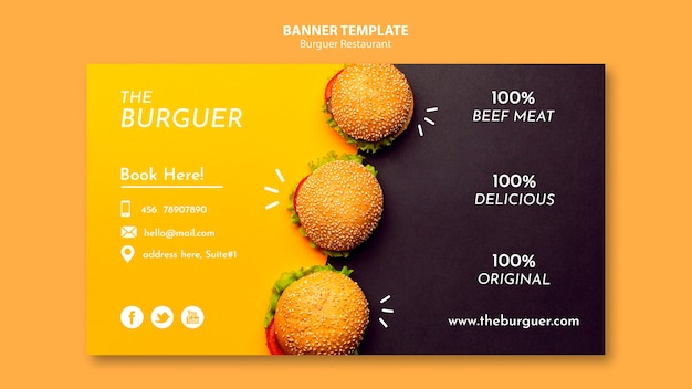 Modèle de bannière de délicieux restaurant burger