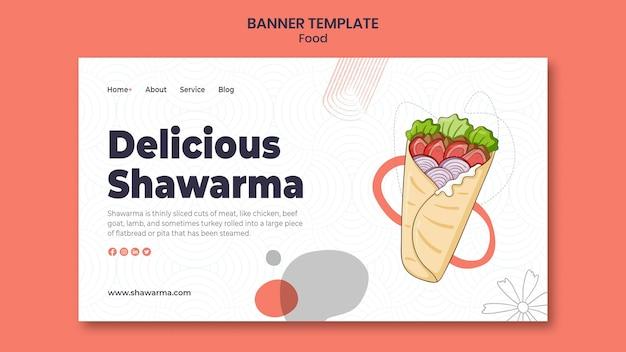 Modèle de bannière de délicieux shawarma