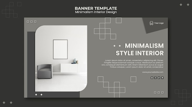 Modèle de bannière de design d'intérieur minimaliste