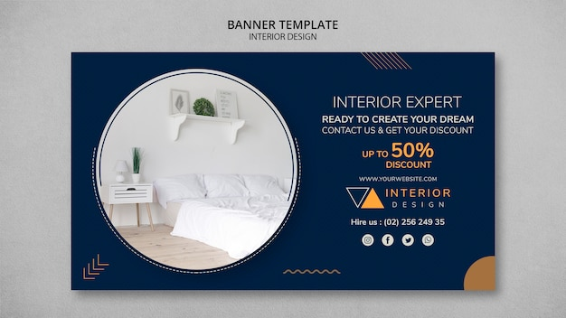 Modèle de bannière de design d'intérieur avec photo