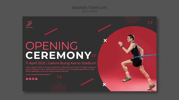 Modèle de bannière avec design sport et technologie