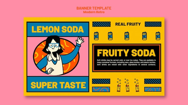 Modèle de bannière avec un design vintage moderne pour les boissons gazeuses