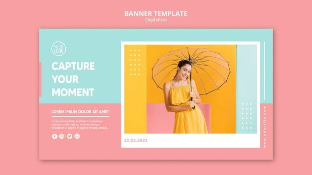 Modèle de bannière de digitalisme coloré